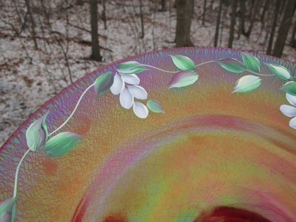 Fenton Red Handpainted Carnival/Stretch Glass Chop Plate