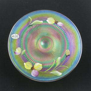 Fenton Marigold #8919 5J Ribbed Hand Painted Carnival Glass Candle Plate