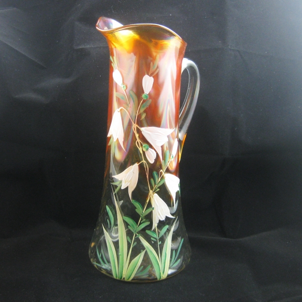 Antique Fenton Marigold Enameled Freesia Carnival Glass Tankard Pitcher