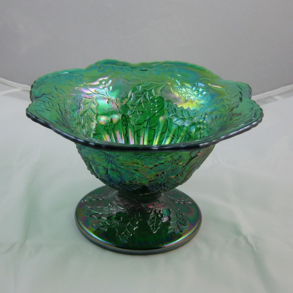 Mosser Emerald Green Christmas Carnival Glass Compote