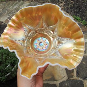 Antique Dugan Peach Opal Ski Star Carnival Glass Banana Boat