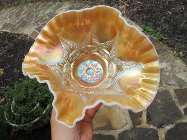 Antique Dugan Peach Opal Ski Star Carnival Glass Banana Boat