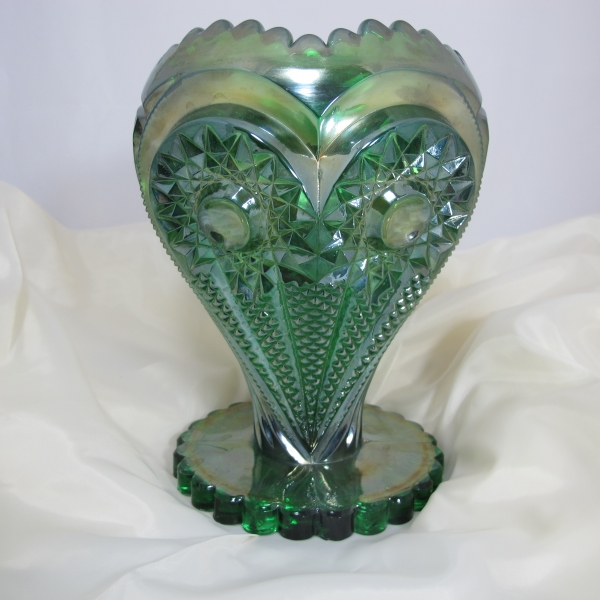 Antique Imperial Green Zippered Heart Carnival Glass Giant Rose Bowl