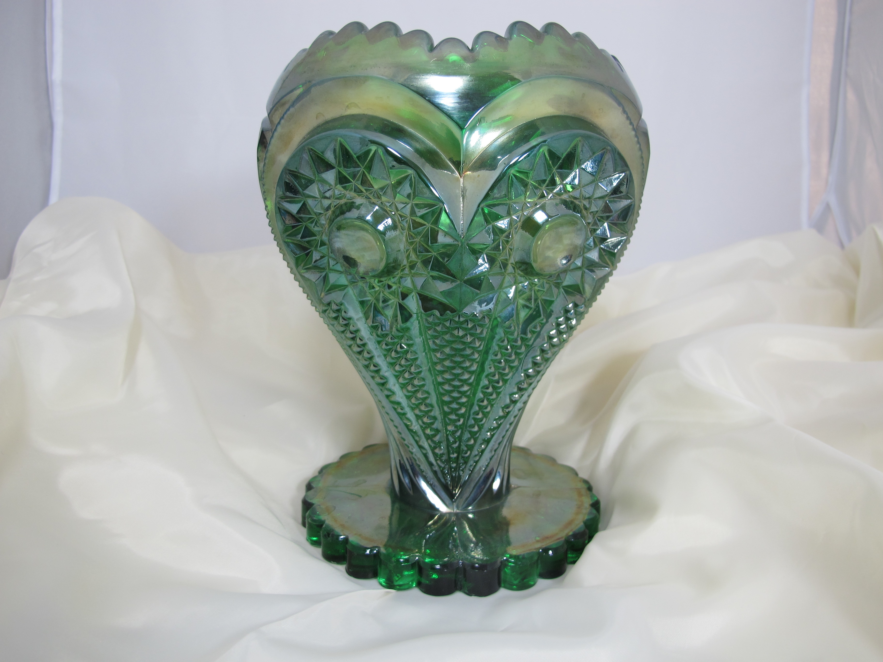 Imperial archives carnival glass antique imperial green zippered heart carnival glass giant rose bowl reviewsmspy