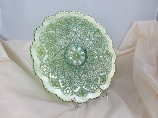 Antique Imperial Green Hattie Carnival Glass Chop Plate