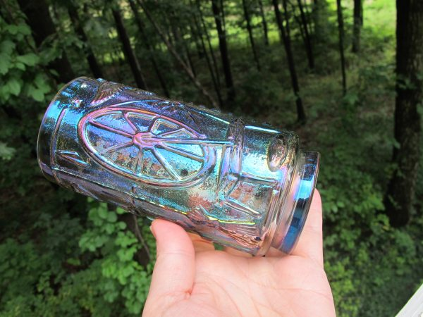 Imperial Smoke Colonial Cabin Carnival Glass Iced Tea Tumbler
