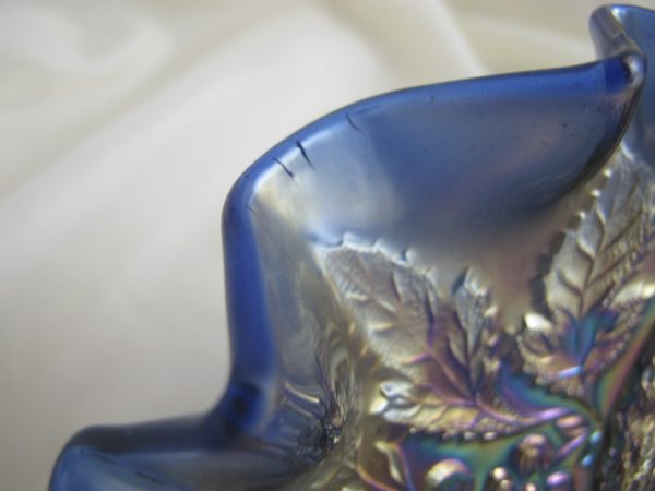 Antique Millersburg Blue Peacock & Urn Mystery Carnival Glass 3n1 Bowl