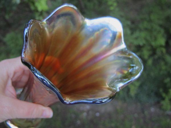 Antique Fenton Vaseline Plume Panels Carnival Glass Vase