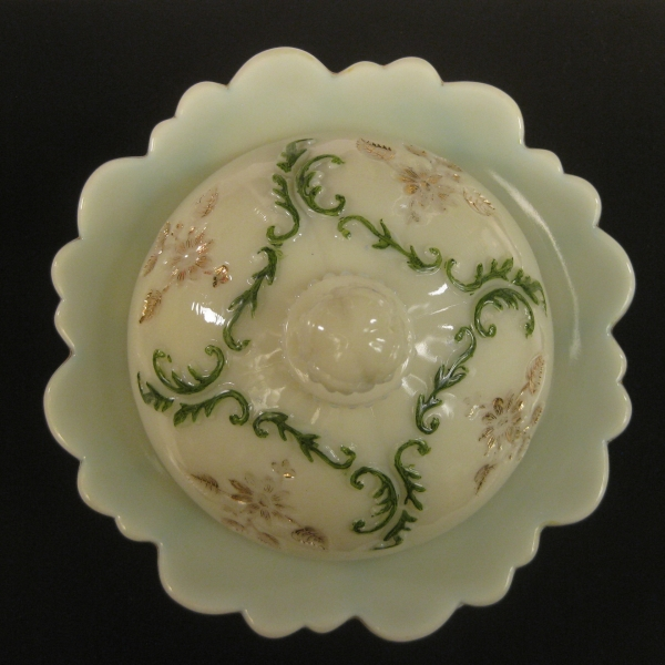 Antique Northwood Custard Decorated Intaglio Custard Glass Butter Dish