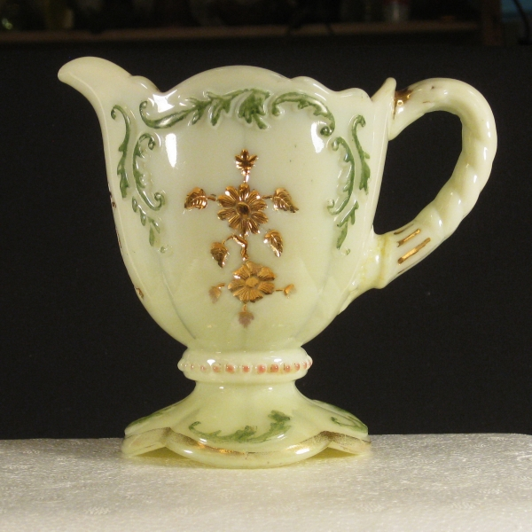 Antique Northwood Custard Decorated Intaglio Custard Glass Creamer Cream Pitcher