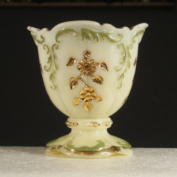 Antique Northwood Custard Decorated Intaglio Custard Glass Spoon Holder