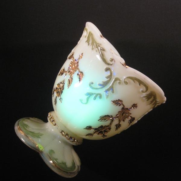 Antique Northwood Custard Decorated Intaglio Custard Glass Spoon Holder