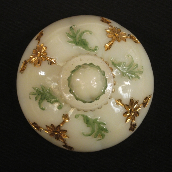 Antique Northwood Custard Decorated Intaglio Custard Glass Sugar with Lid