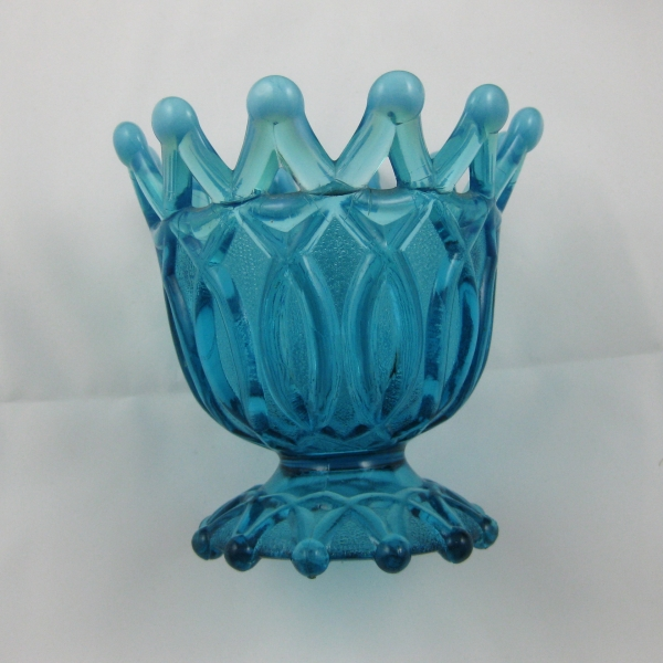 Antique Northwood Blue Opal Open O's Opalescent Glass Nut Bowl