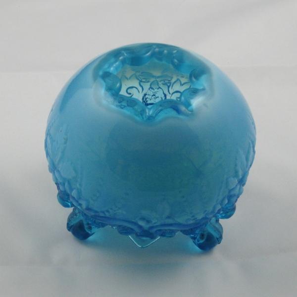 Antique English ?Sowerby? Blue Opal Piasa Bird Opalescent Glass Rosebowl