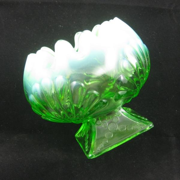Antique Jefferson Green Opal Shell & Dots Opalescent Glass Crimped Rosebowl
