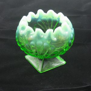 Antique Jefferson Green Opal Shell & Dots Opalescent Glass Crimped Rosebowl