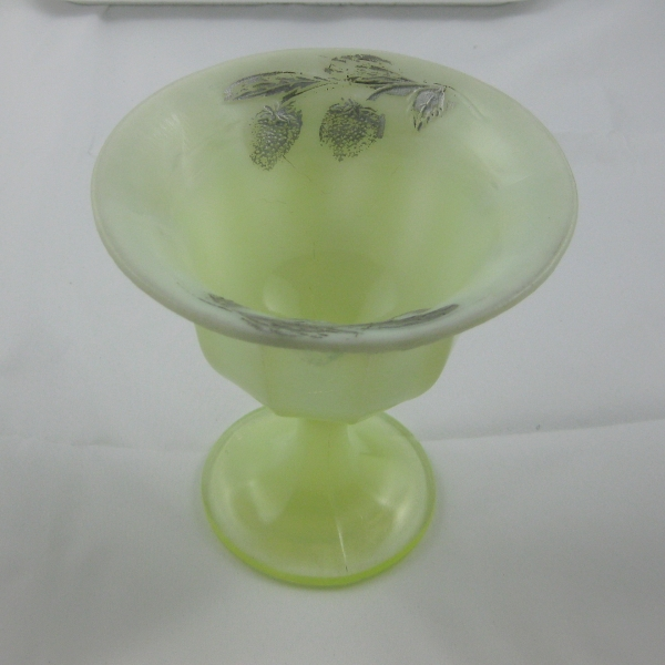 Antique Fenton Vaseline Custard Decorated Strawberry Custard Glass Compote