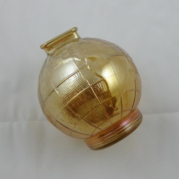 Antique Marigold World Globe Carnival Glass Bank