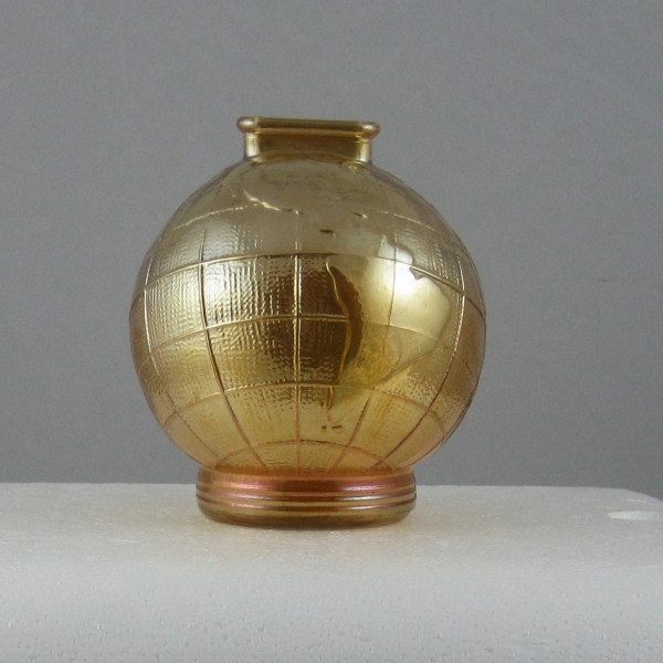 Antique Marigold World Globe Carnival Glass Bank