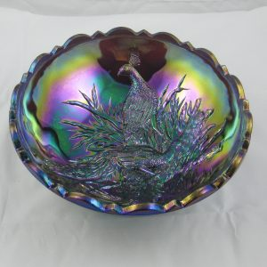LG Wright Amethyst Peacocks with Butterfly back Carnival Glass Bowl