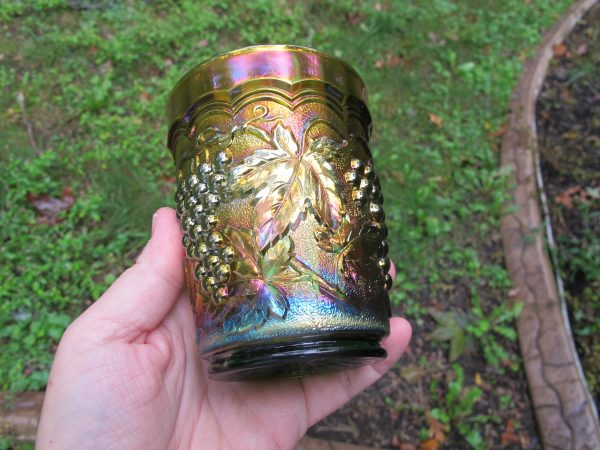 Antique Imperial Green Imperial Grape Carnival Glass Tumbler