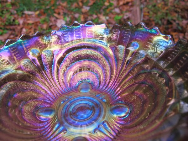 Antique Imperial Smoke Scroll Embossed Carnival Glass Bowl