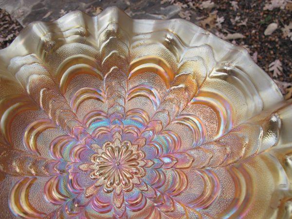 Antique Millersburg Marigold Rosalind Carnival Glass Large 3n1 Bowl