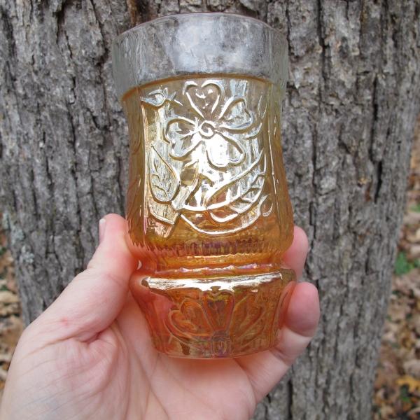 Antique Jain? Marigold Australian Daisy Carnival Glass Tumbler