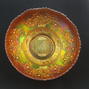 Antique Fenton Marigold Orange Tree Carnival Glass Ice Cream Bowl