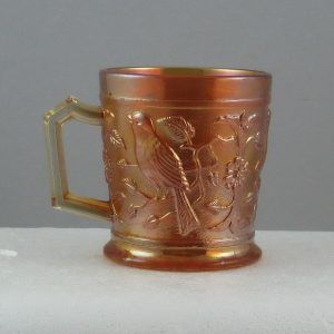 Antique Imperial Marigold Robin Carnival Glass Mug