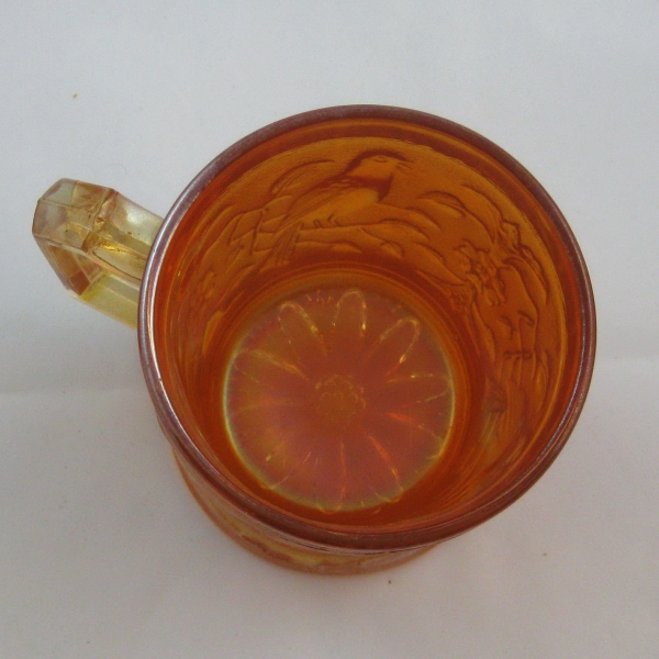 Antique Imperial Marigold Robin Carnival Glass Mug
