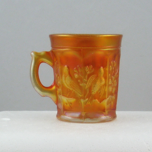 Antique Northwood Marigold Singing Birds Carnival Glass Mug