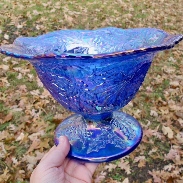 Fenton Limited Ed. Blue Christmas Carnival Glass Compote