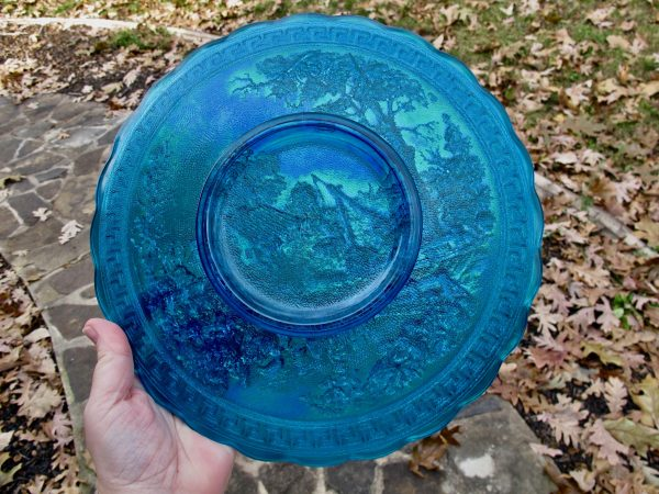 Summit - Imperial Sapphire Blue Homestead Carnival Glass Plate