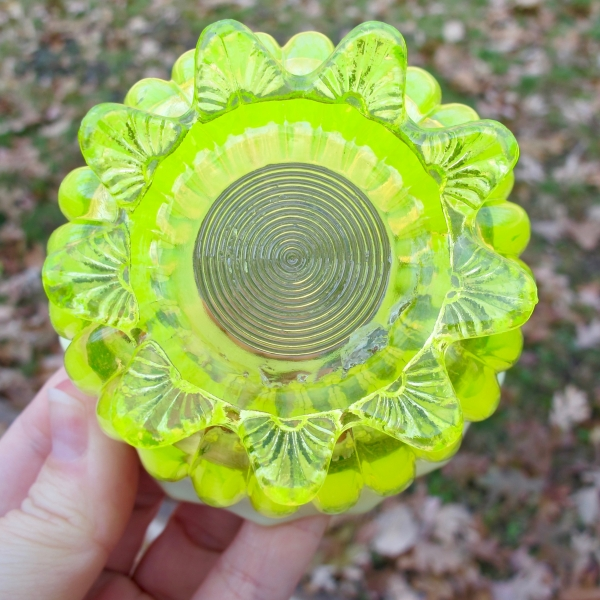 Antique Davidson Lady Caroline Pearline Vaseline Opalescent Glass Finger Sugar Bowl