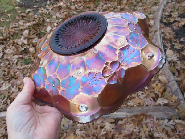 Antique Fenton Amethyst Feathered Serpent Carnival Glass Lg. Bowl