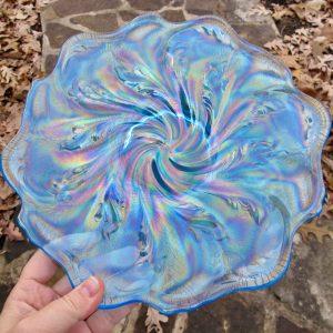 Fenton Celeste Blue Acanthus Carnival Glass Chop Plate