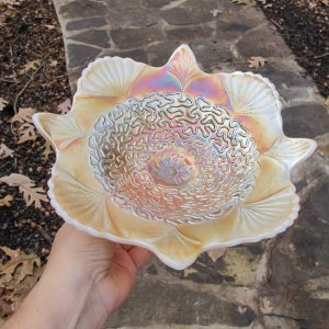 Antique Dugan Peach Opal Soutache Carnival Glass Whimsey Plate