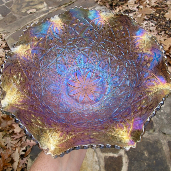 Antique Imperial Smoke Hattie Carnival Glass Bowl
