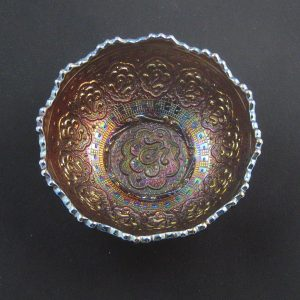 Antique Fenton Amethyst Persian Medallion Round Carnival Glass Small Bowl
