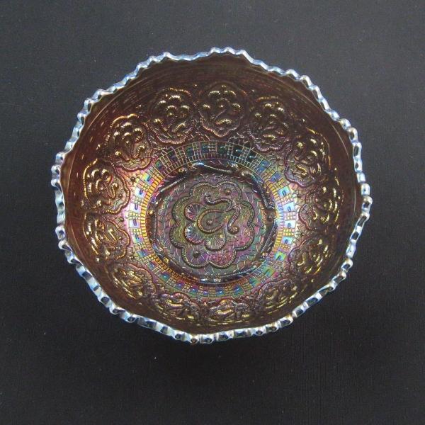 Antique Fenton Amethyst Persian Medallion Round Carnival Glass Small Bowl