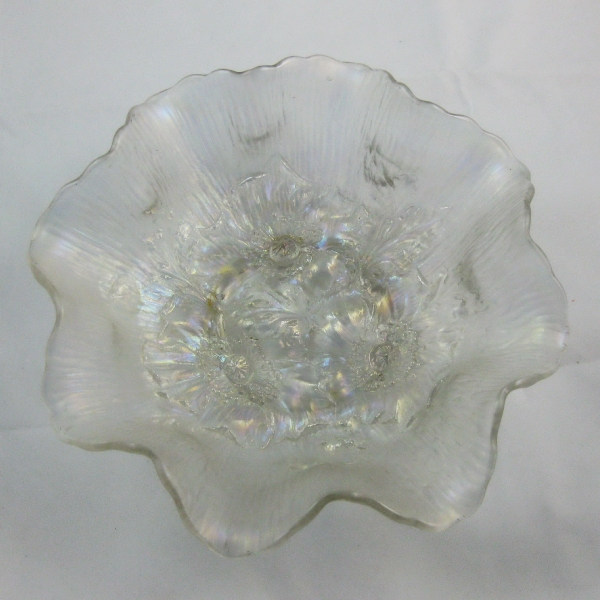 Antique Northwood Ice White Poppy Show Carnival Glass Ruffled Bowl