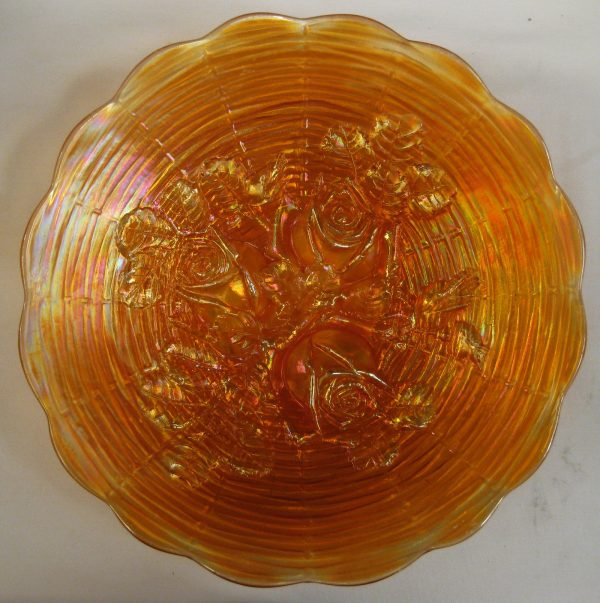 Antique Northwood Marigold Rose Show Carnival Glass Plate