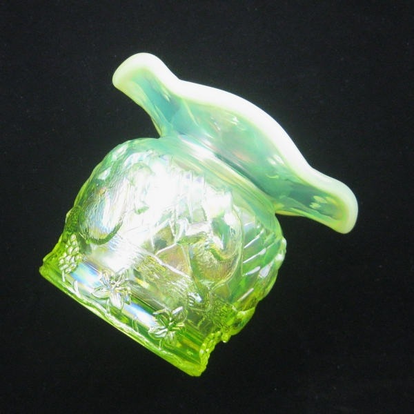 Fenton Vaseline Opal Frolicking Bears Carnival Glass Spittoon