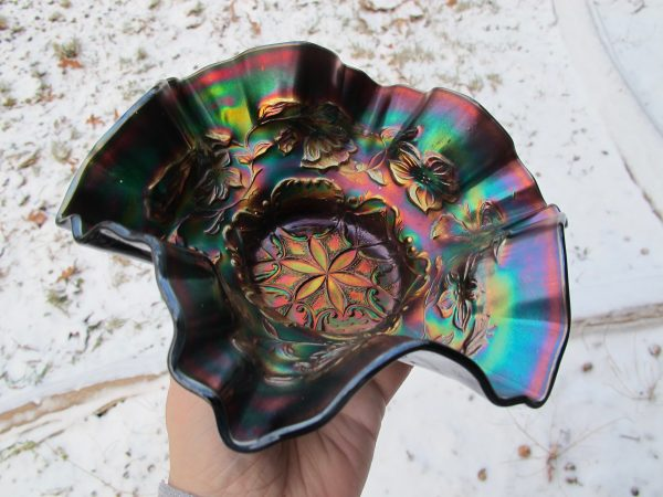 Antique Dugan Amethyst Six Petals Carnival Glass Bowl