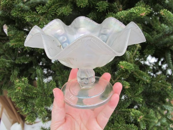 Antique Dugan White Coin Spot Indiana Fair Souvenir Carnival Glass Compote