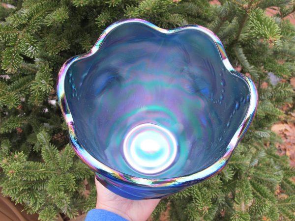 Fenton Sapphire Blue Atlantis Carnival Glass Vase