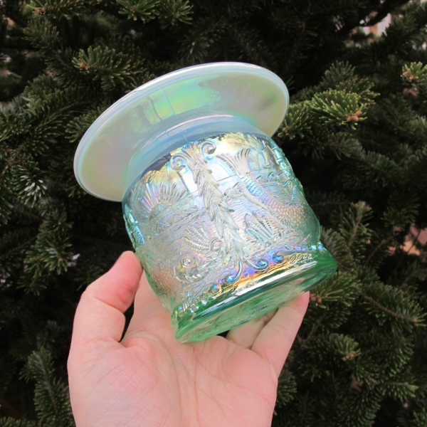 Fenton Ice Green Opal Seacoast Carnival Glass Spittoon Limited Edition