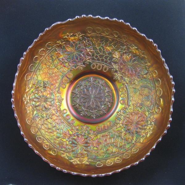 Antique Fenton Marigold Leaf Chain Carnival Glass Ice Cream Bowl